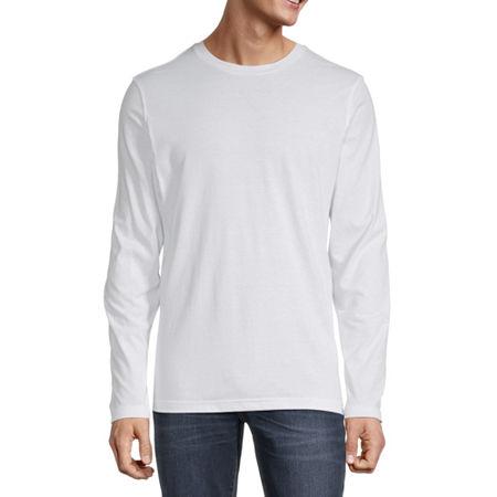 Arizona Mens Crew Neck Long Sleeve T-Shirt, Large , White