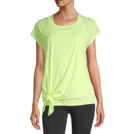 Xersion Womens Round Neck Short Sleeve Tank Top-Petite, Petite Medium , Yellow