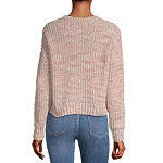 Rewind-Juniors Womens Crew Neck Long Sleeve Pullover Sweater