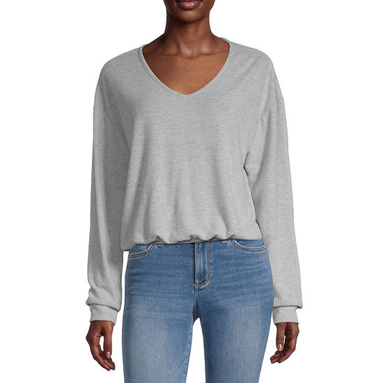 Cut And Paste Juniors Womens V Neck Long Sleeve Sweatshirt