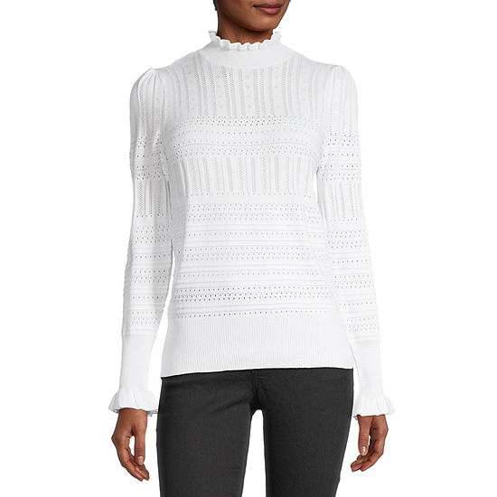 Almost Famous-Juniors Womens Mock Neck Long Sleeve Pullover Sweater