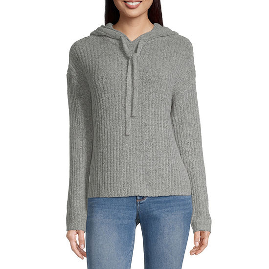 Almost Famous-Juniors Womens Hooded Neck Long Sleeve Pullover Sweater