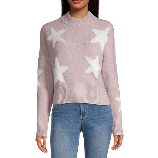 Arizona-Juniors Womens Mock Neck Long Sleeve Star Pullover Sweater