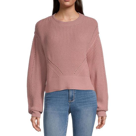 Arizona-Juniors Womens Mock Neck Long Sleeve Pullover Sweater