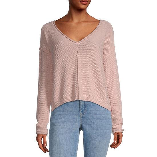 Arizona-Juniors Freeform Womens V Neck Long Sleeve Pullover Sweater