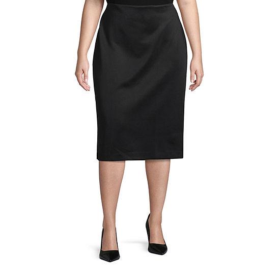 Worthington Womens High Rise Scuba Pencil Skirt - Plus