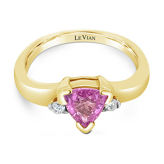 Levian Corp Le Vian Womens Diamond Accent Genuine Pink Sapphire 14K Gold Cocktail Ring