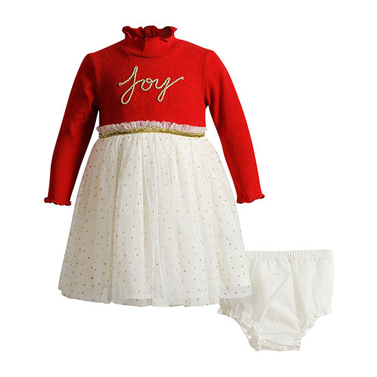 Youngland Baby Girls 2-pc. Long Sleeve A-Line Dress