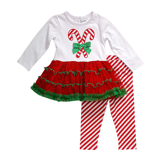 Youngland Baby Girls Long Sleeve 2-pc. Dress Set