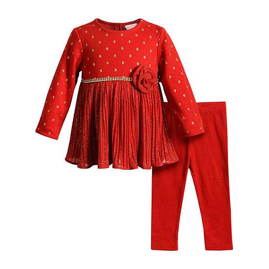 Youngland Baby Girls Long Sleeve Midi 2-pc. Dress Set