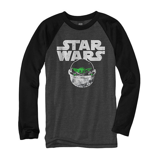 Disney Little & Big Boys Crew Neck Star Wars Long Sleeve Graphic T-Shirt