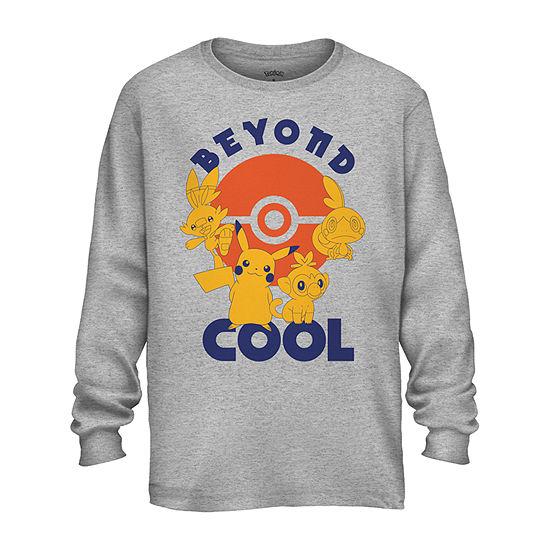 Little & Big Boys Crew Neck Pokemon Long Sleeve Graphic T-Shirt