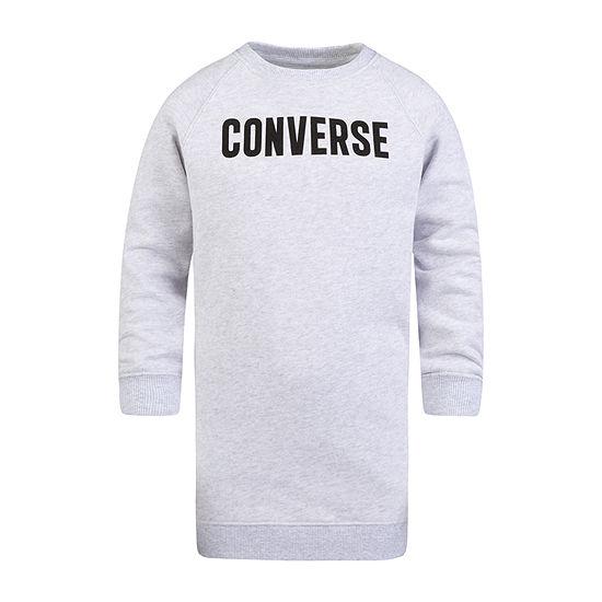 Converse Big Girls Long Sleeve Logo Sweatshirt Dress