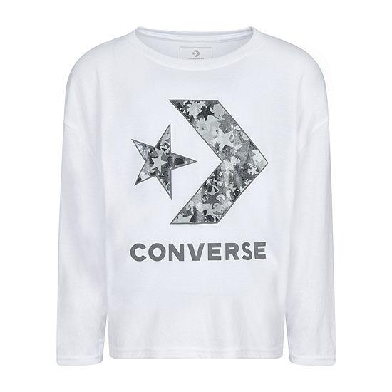 Converse Big Girls Crew Neck Long Sleeve Graphic T-Shirt