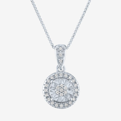 Womens 1/10 CT. T.W. Genuine Diamond Sterling Silver Pendant Necklace