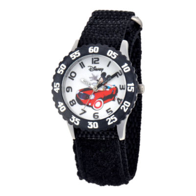 Disney Mickey Mouse Time Teacher Kids Stainless Steel Black Strap Watch