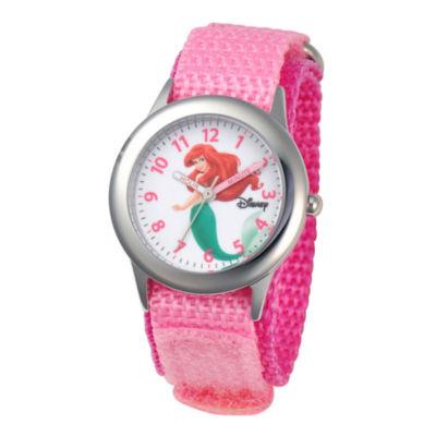 Disney Ariel Time Teacher Kids Stainless Steel Pink Strap Watch