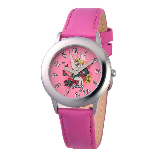 Disney Tinker Bell Pink Leather Strap Watch