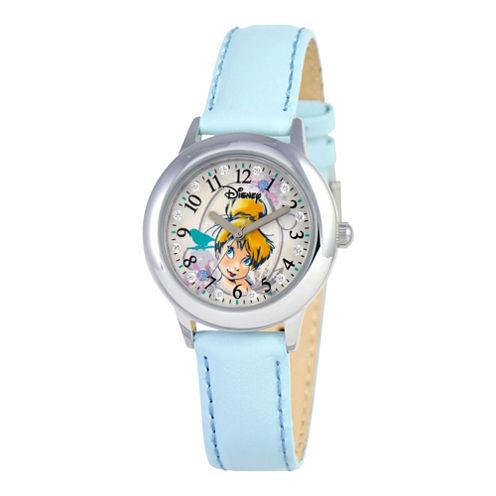 Disney Tinker Bell Glitz Blue Leather Strap Watch