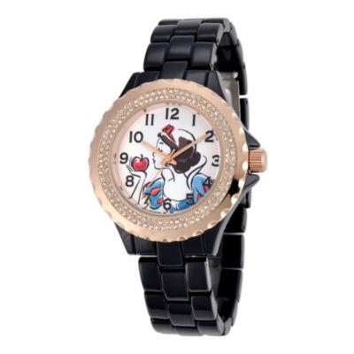 Disney Womens Snow White Rose-Tone Black Enamel Watch