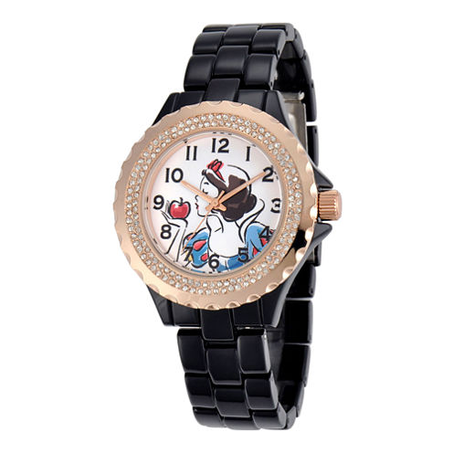 Disney Womens Snow White Rose-Tone Black Enamel Watch