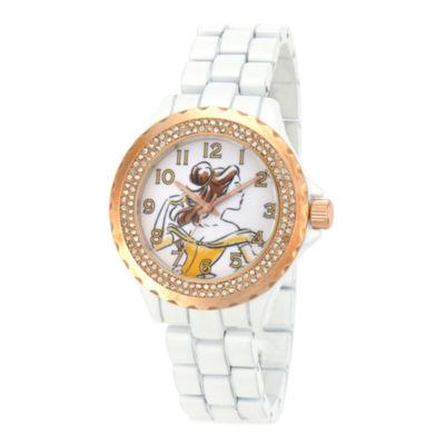 Disney Womens Belle Rose-Tone White Enamel Watch