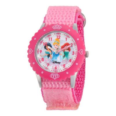Disney Princesses Time Teacher Kids Pink Crown Glitz Watch