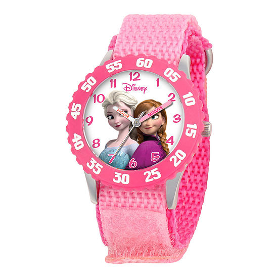 Disney Frozen Anna & Elsa Time Teacher Kids Pink Strap Watch