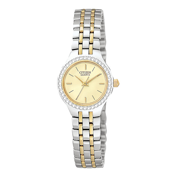 Citizen® Womens Crystal-Accent Two-Tone Bracelet Watch EJ6044-51P