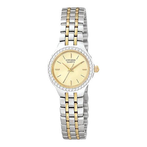 Citizen® Womens Crystal-Accent Two-Tone Bracelet Watch EJ6044-51P