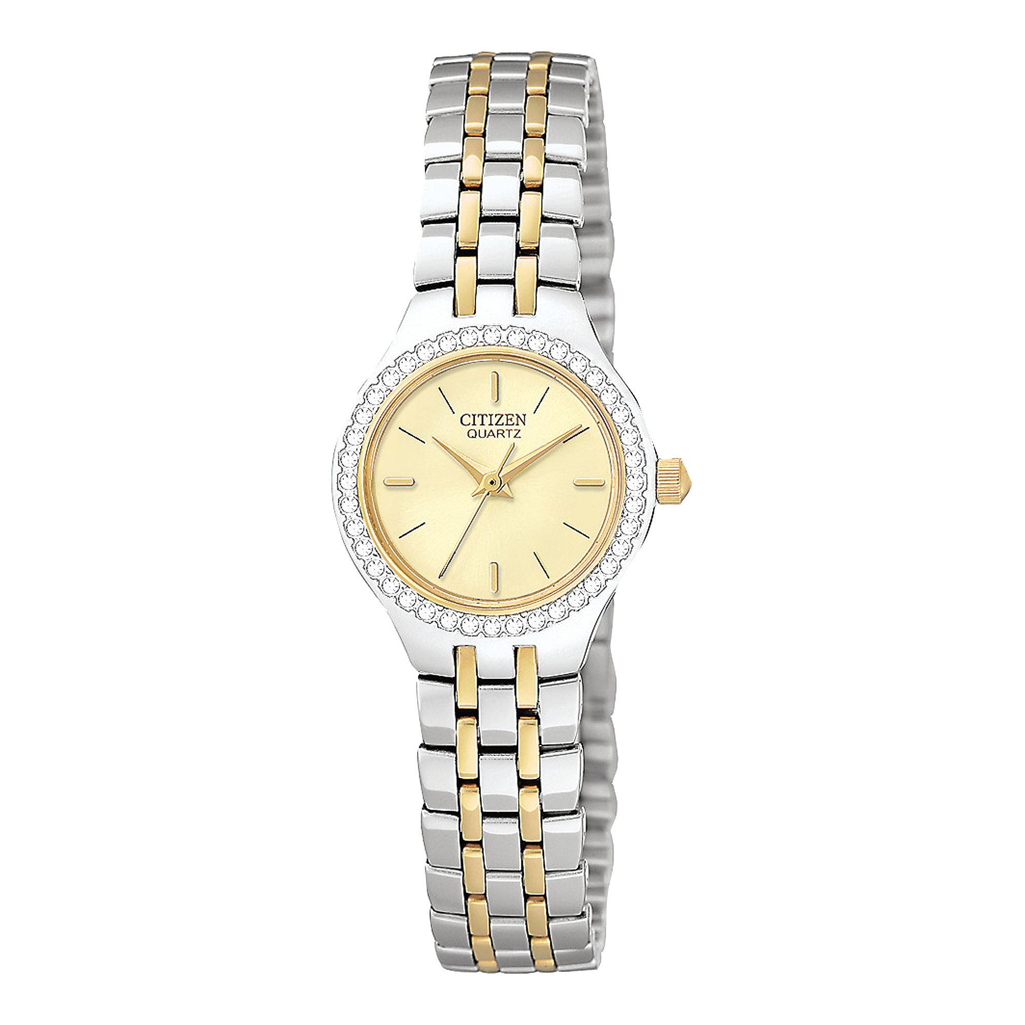 Citizen Womens Crystal-Accent Two-Tone Bracelet Watch EJ6044-51P