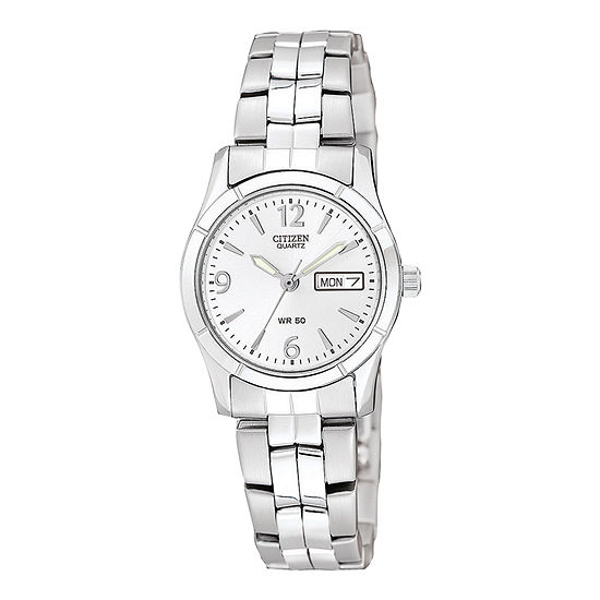 Citizen® Womens White Dial Stainless Steel Bracelet Watch EQ0540-57A