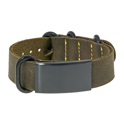 Mens Leather & Brown IP ID Bracelet