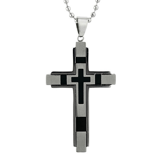 Mens Stainless Steel & Black IP Cross Pendant