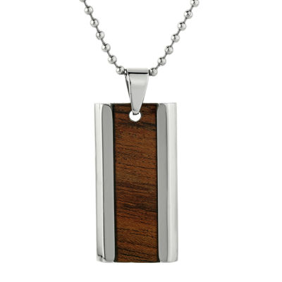 Mens Stainless Steel & Wood Dog Tag Pendant Necklace