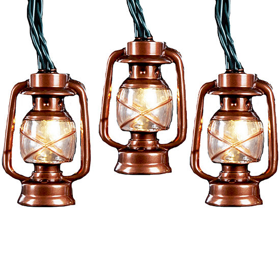 Kurt Adler 10-Light Brass Lantern Light Set