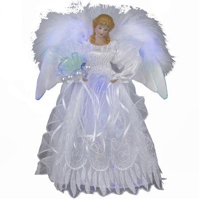 """Kurt Adler 12"""" Fiber-Optic White and Silver Angel LED Lighted Treetopper"""
