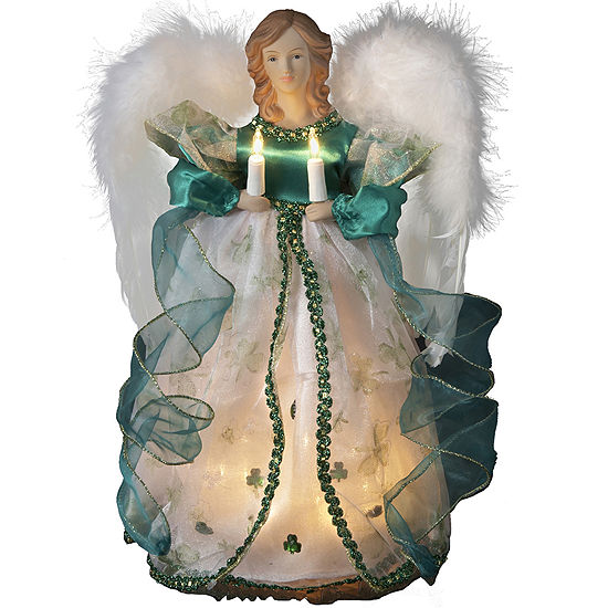 "Kurt Adler 12"" Irish Angel Lighted Treetopper"