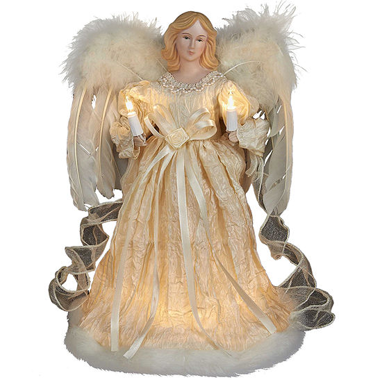 """Kurt Adler 12"""" Ivory Angel Lighted Treetopper"""