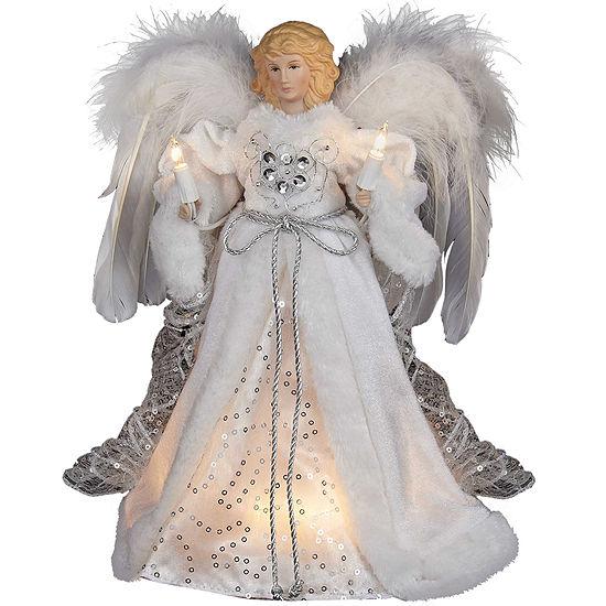 """Kurt Adler 12"""" White and Silver Angel Lighted Treetopper"""