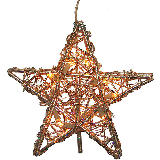 Kurt Adler 10-Light Rattan Gold Star Tree Topper