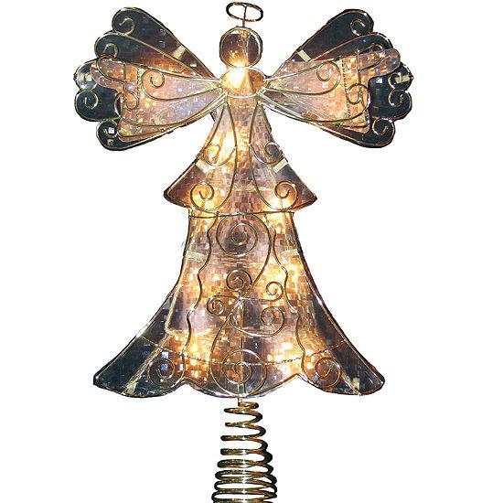 "Kurt Adler 10-Light 10"" Metal Reflector Angel Tree Topper"