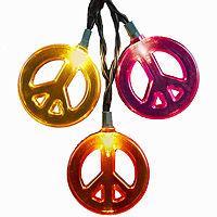 Kurt Adler Peace Sign Light Set, One Size , Multiple Colors