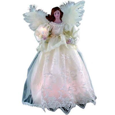 """Kurt Adler 14.5"""" Ivory Angel Lighted Treetopper"""