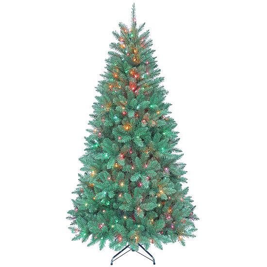 Kurt Adler 7 Ft. Pre-Lit Pine Tree with Multi-Colored Lights