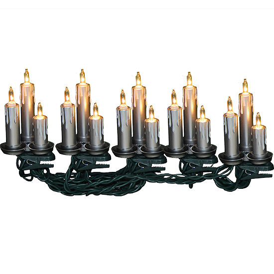 Kurt Adler 15-Light Silver Triple Candle Light Set