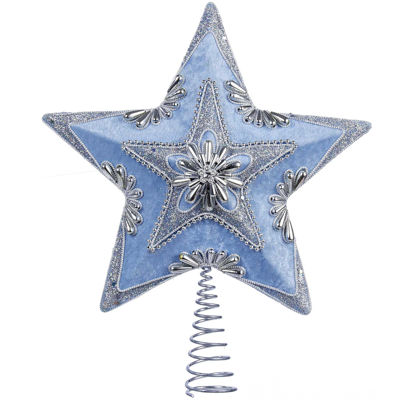 "Kurt Adler 13.5"" Pale Blue and Silver Star Treetopper"