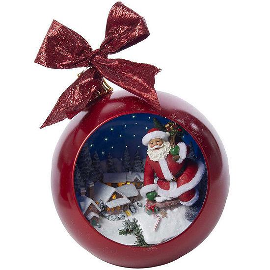 """Kurt Adler 9.8"""" Musical Santa Out Of Chimney Ball"""