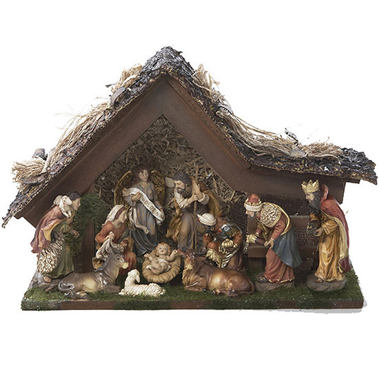 """Kurt Adler 9½"""" Musical LED Nativity Set with Figures and Stable"""