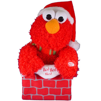 "Kurt Adler Sesame Street 10"" Battery-Operated Singing and Moving Elmo In Chimney"